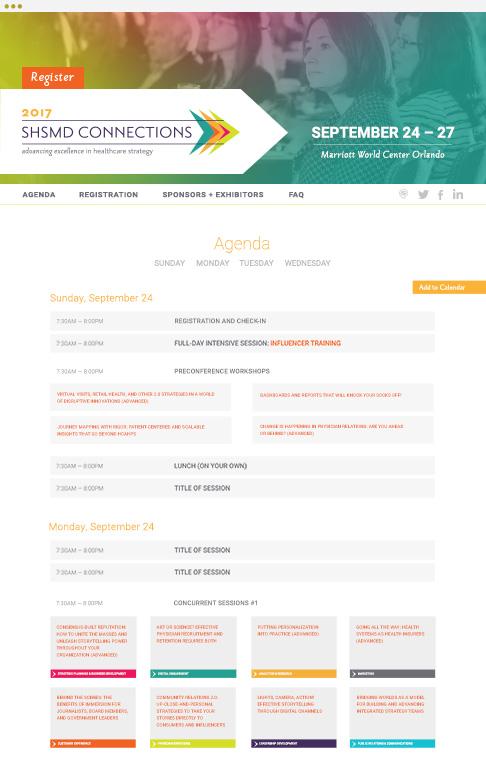 responsive SHSMD 2017 annual conference website agenda