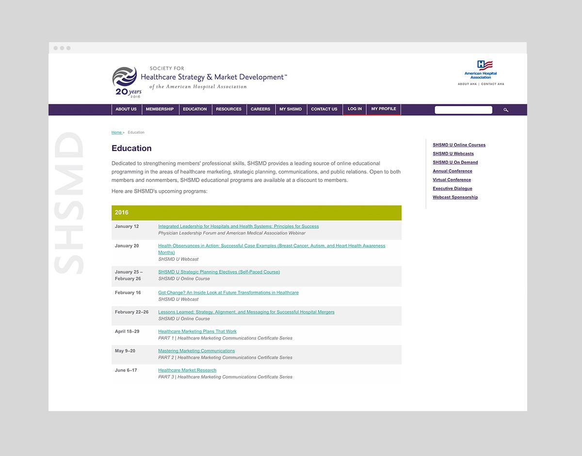 shsmd website design