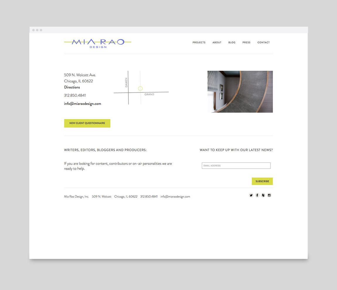 Mia Rao Design Website Contact