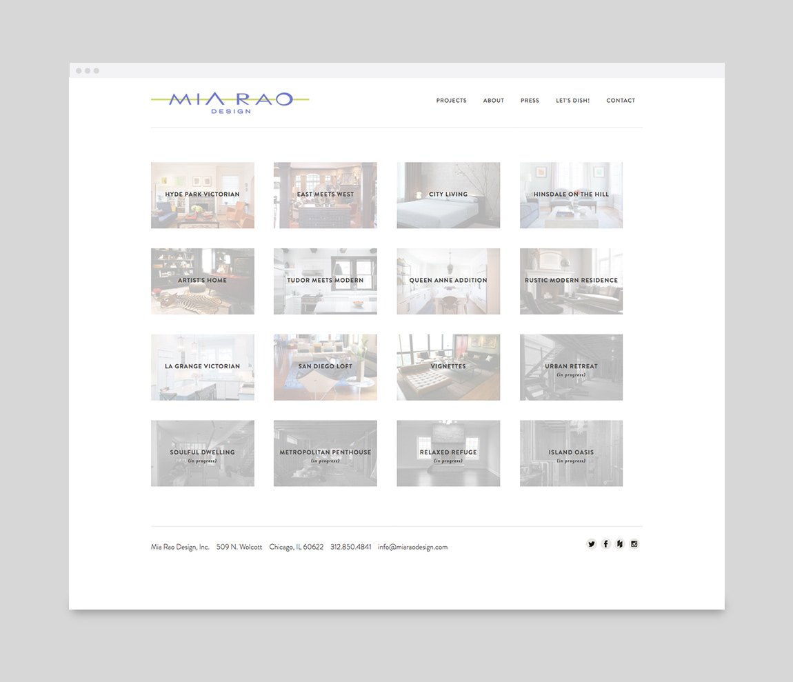 Mia Rao Design Website Projects