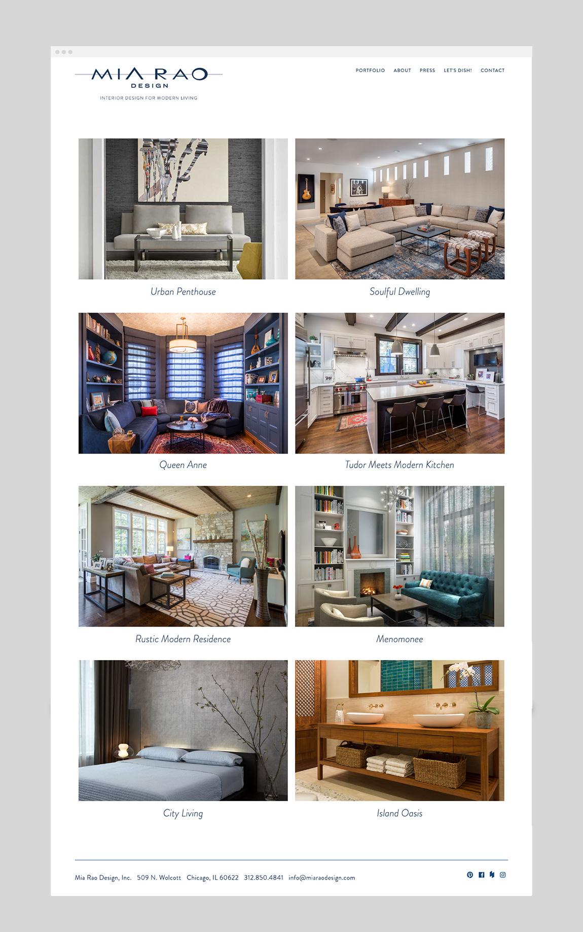 Mia Rao Design Website Portfolio by Hughes Design