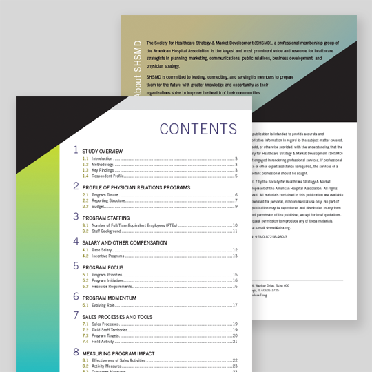 SHSMD Physician Relations Report Design Pages
