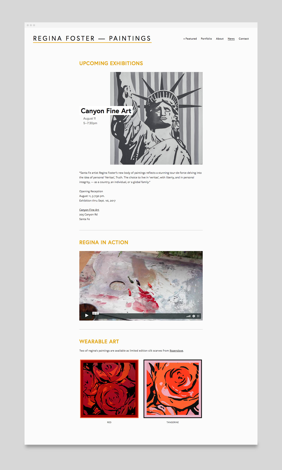 Regina Foster Painter Website News Page Design