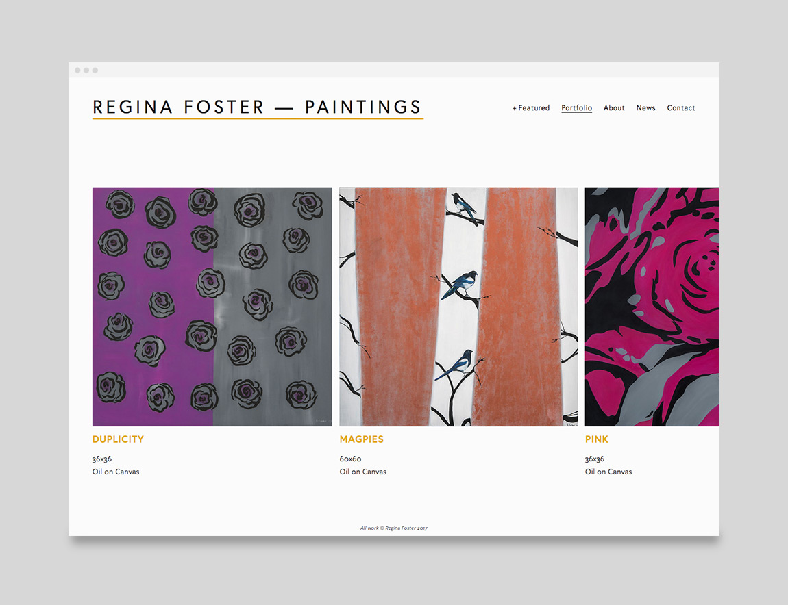Regina Foster Painter Website Portfolio Page Design