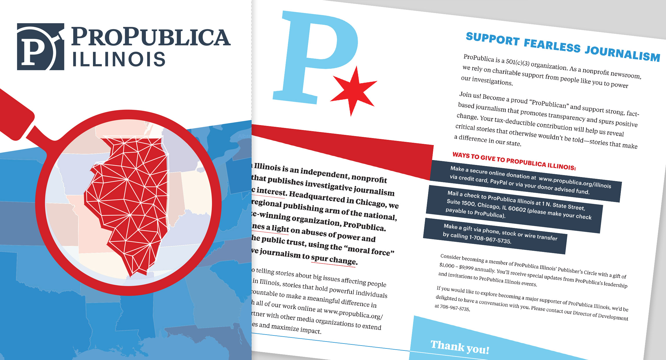 Fundraising Brochure Design for ProPublica Illinois by Hughes Design|Communications