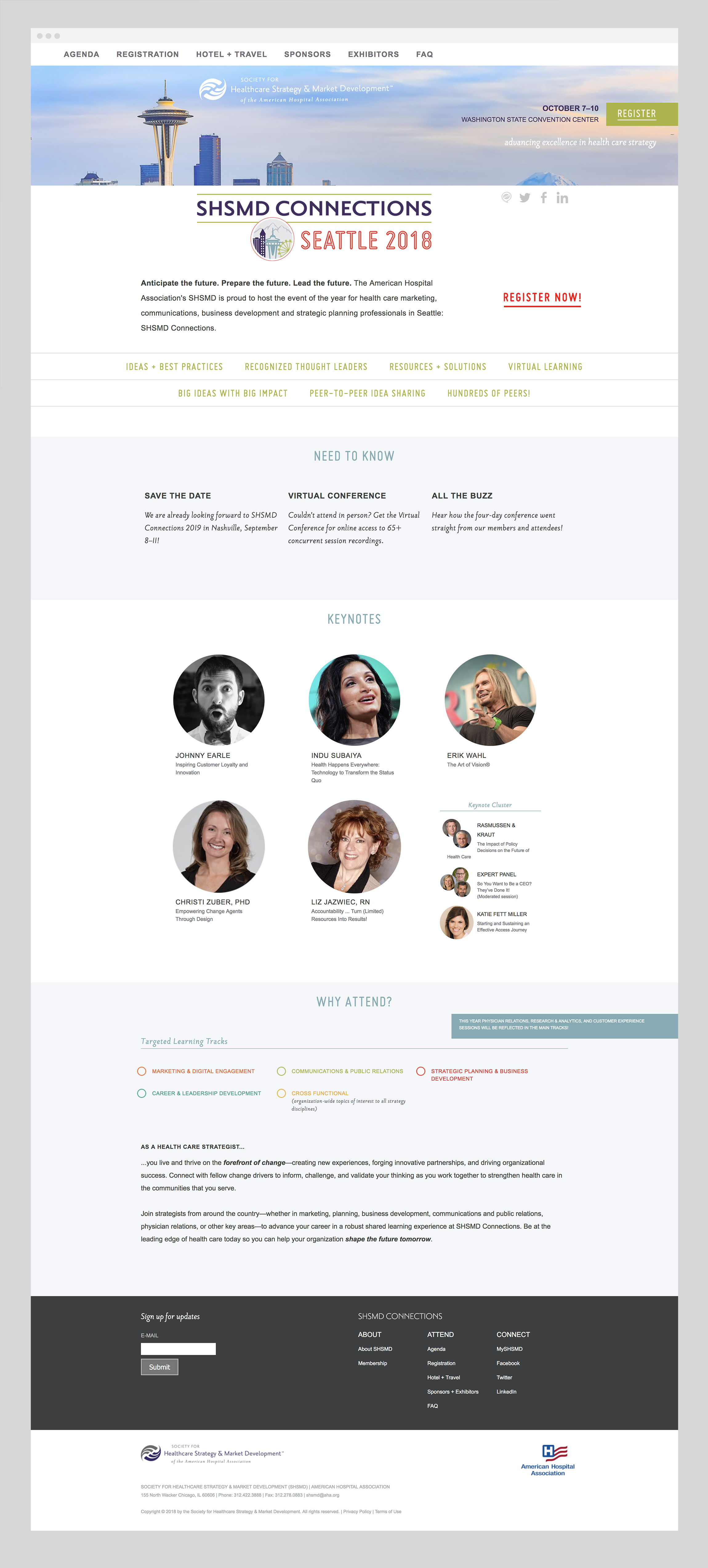 SHSMD Connections 2018 Conference Website Design by Hughes Design